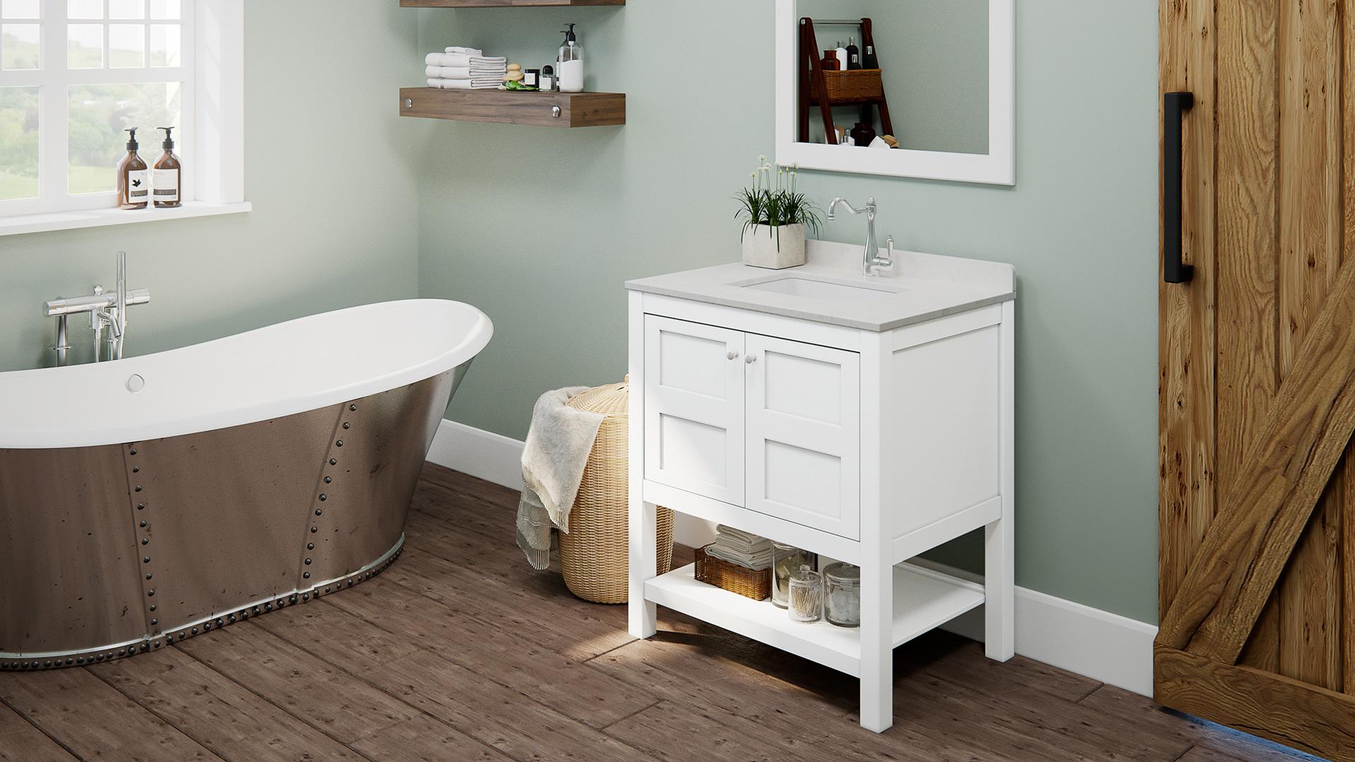 """30"""" Piedmont White Furniture Vanity w/ Mirror"""