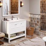 """42"""" Piedmont White Furniture Vanity w/ Mirror"""