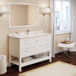 """48"""" Piedmont White Furniture Vanity w/ Mirror"""