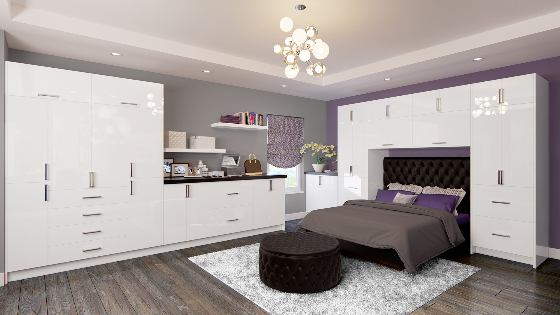 Palena Gloss White Bedroom Cabinets